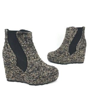 Castaner Tweed Platform Wedge Heel Ankle Bootie 40